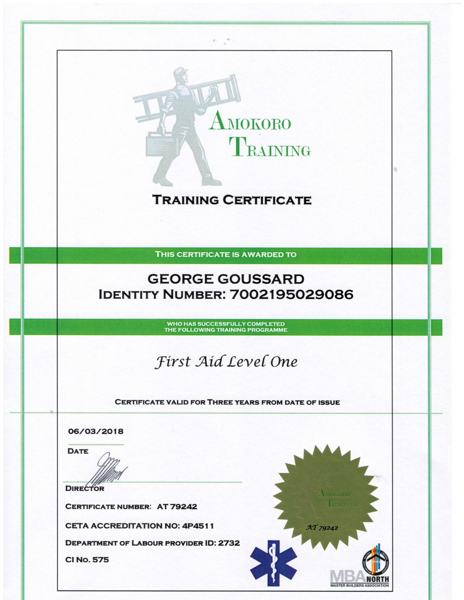 George Goussard First Aid Level One