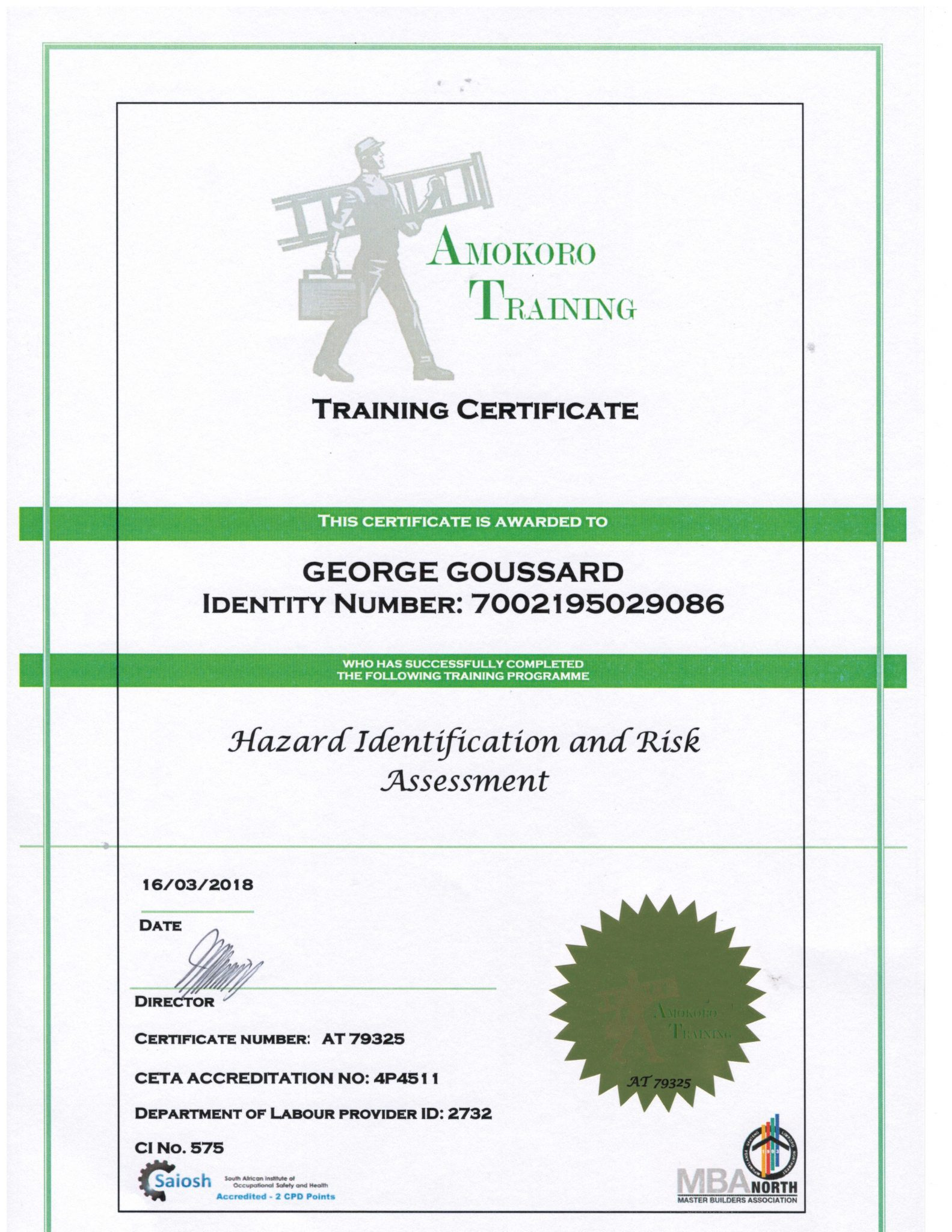 George Goussard Hazard Identification and Risk Assessment