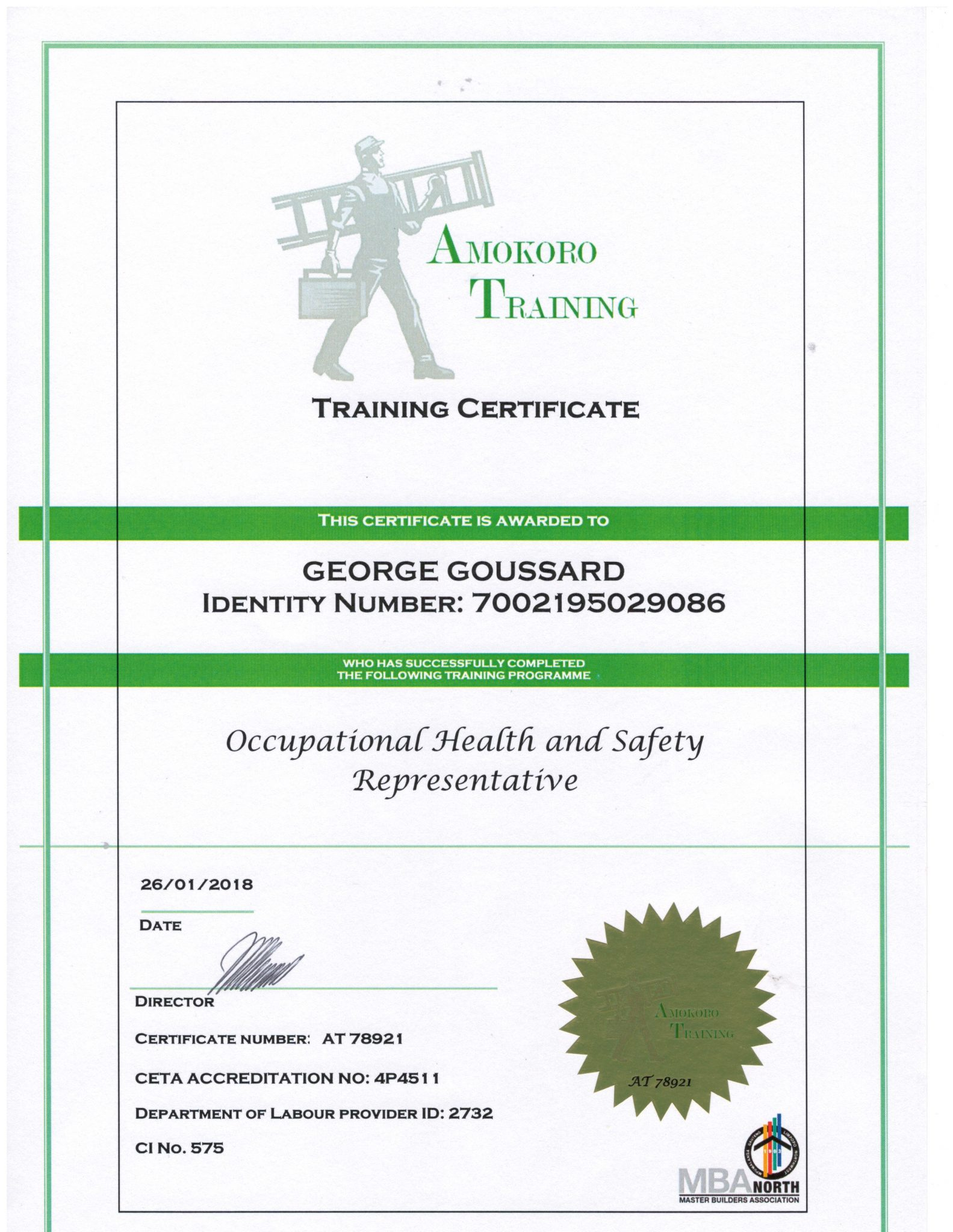 George Goussard Occupational Health and Safety Representative